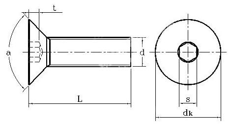 bản vẽ kỹ thuật ốc luc giác đầu chìm