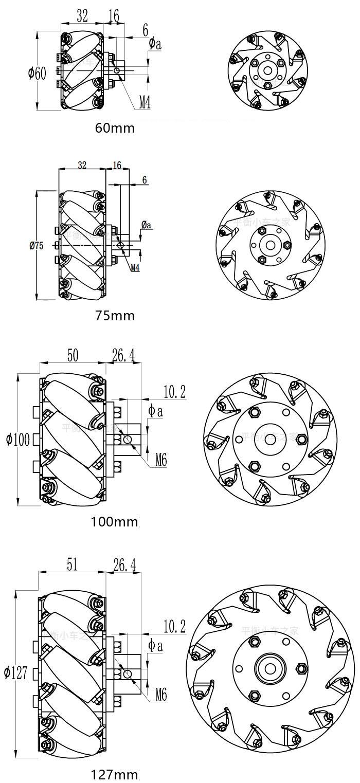 bản vẽ kỹ thuật bánh xe mecanum