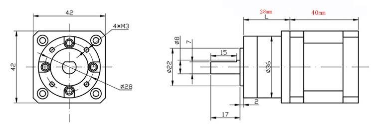 bản vẽ motor bước 42 giảm tốc